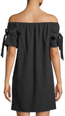 Soul Harmony Energy Tie-Sleeve Off-The-Shoulder Shift Dress