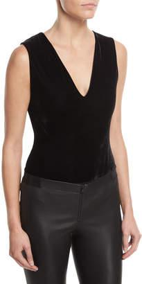 Alice + Olivia Marley V-Neck Sleeveless Velvet Bodysuit