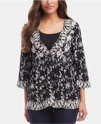 Karen Kane Three-Quarter-Sleeve Lace Top