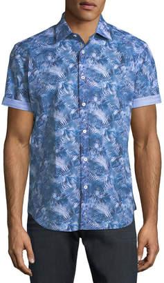 Bugatchi Layered-Leaf Print Short-Sleeve Sport Shirt