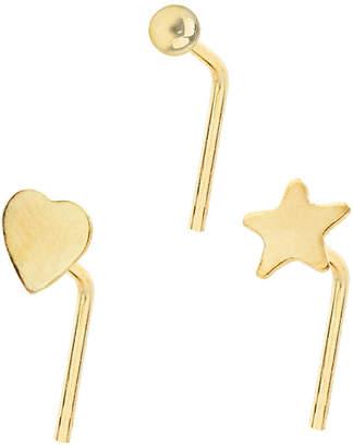 Bodifine 10K Gold Set of 3 Nose Studs
