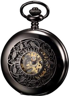 K&S Kronen Soehne KS Men's Skeleton Hand Winding Mechanical Analog Pocket Watch + Chain KSP047
