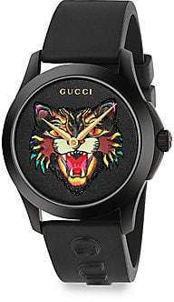 390dc0c8ec1 Gucci G-Timeless Angry Cat Rubber Strap Watch