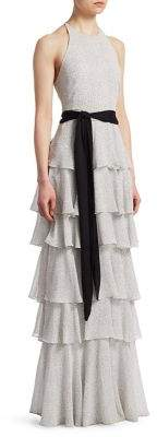 Halston Tiered Ruffle Gown