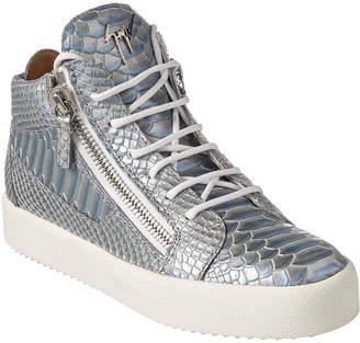 Giuseppe Zanotti Snake-Embossed Leather High-Top Sneaker