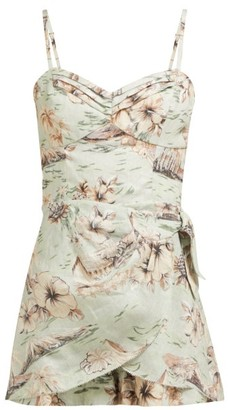 Zimmermann Wayfarer Hawaiian Print Linen Playsuit - Womens - Light Green