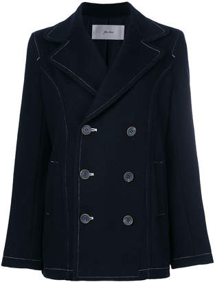 Julien David contrast stitch double-breasted coat
