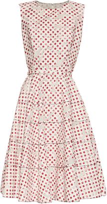 OSCAR DE LA RENTA Polka-dot print floral-devoré A-line dress $2,690 thestylecure.com