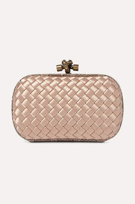 Bottega Veneta The Mini Knot Watersnake-trimmed Intrecciato Satin Clutch - Blush