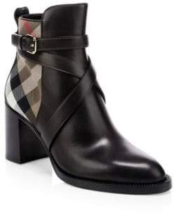 Burberry Vaughan House Check& Leather Ankle Boots