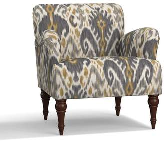 Pottery Barn Hadley Upholstered Armchair - Print and Pattern