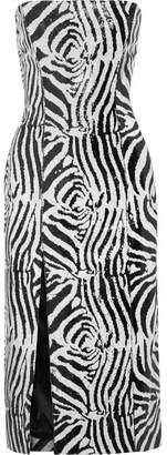Halpern - Sequined Satin Midi Dress - Zebra print