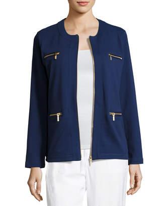 Joan Vass Stretch Interlock Zip-Front Jacket