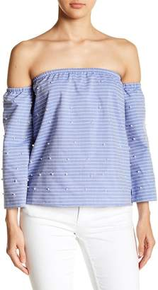 Romeo & Juliet Couture Off the Shoulder Pearl Top