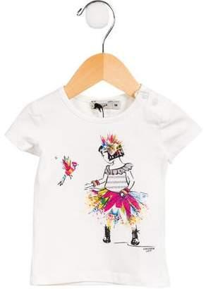 Junior Gaultier Girls' Cap Sleeve Graphic Top w/ Tags