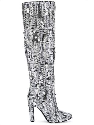 Alberta Ferretti sequins knee-high boots