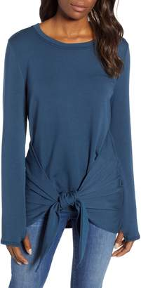Caslon Off-Duty Tie Front Sweatshirt