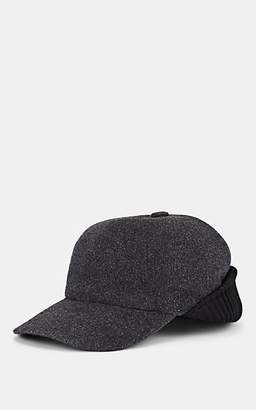 Barneys New York MEN'S VIRGIN-WOOL-CASHMERE MELTON BASEBALL CAP - GRAY SIZE L