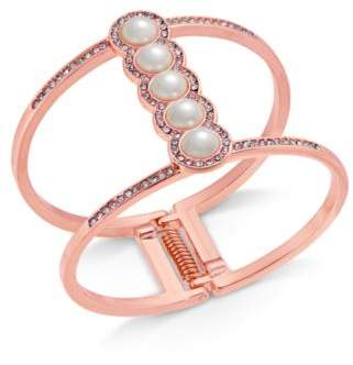 INC International Concepts I.N.C. Rose Gold-Tone Pavé & Imitation Pearl Open Hinged Cuff Bracelet, Created for Macy's