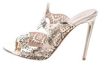 Giambattista Valli Metallic Leather Laser Cut Slide Sandals