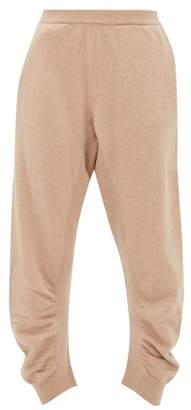 Stella McCartney Ruched Seam Cropped Wool Track Pants - Womens - Beige