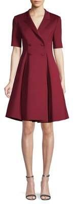 Badgley Mischka Platinum Notch-Collar Double-Breasted Dress
