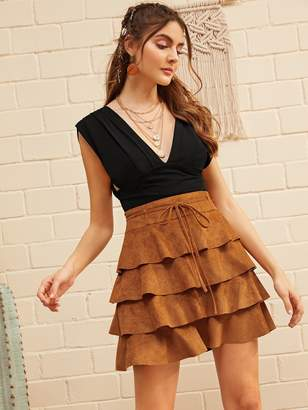 Shein Belted Layered Ruffle Suede Skirt