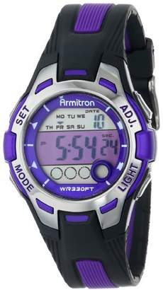Armitron Sport Women's 45/7030PUR Accented Black Resin Strap Digital Chronograph Watch