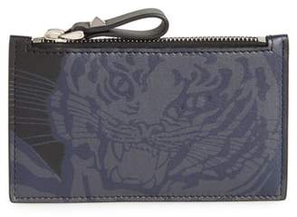 Valentino Tiger Print Leather Zip Wallet