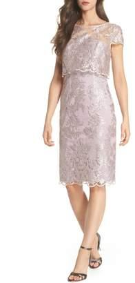 Adrianna Papell Scallop Edge Popover Sheath Dress