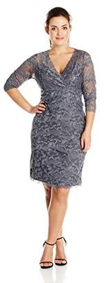 Marina Women's Plus-Size Crescent Lace Dress Criss Cross at Front