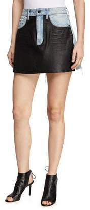 021724cfe98 Alexander Wang Bite Leather Denim Frayed Mini Skirt