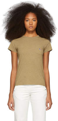 MAISON KITSUNÉ Beige Tricolor Fox Patch Pocket T-Shirt