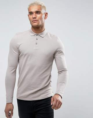 Asos Long Sleeve Muscle Fit Polo In Pique In Gray