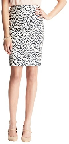 LOFT Carved Leaf Print Pencil Skirt in Doubleweave Cotton