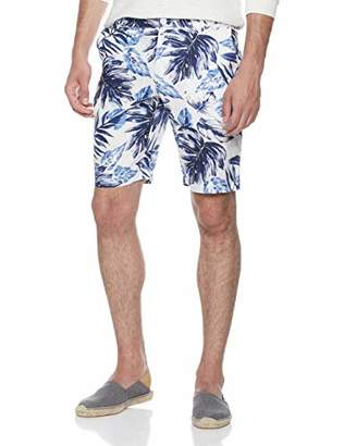 "Isle Bay Linens Men's 11"" Inseam 100% Linen Tropical Hawaiian Shorts"