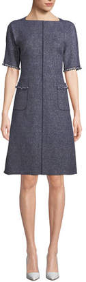 Rickie Freeman For Teri Jon Tweed Pocket Dress w/ Pearly Trim
