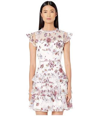 ML Monique Lhuillier Embroidered Mesh Tiered Dress with Ruffled Sleeves