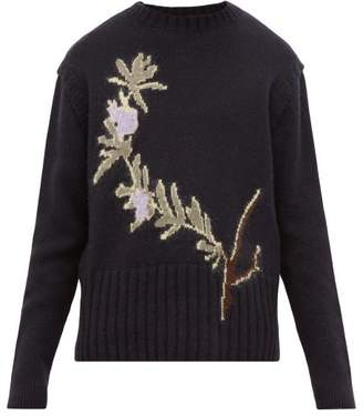 Jacquemus Rosemary Jacquard Wool Blend Sweater - Mens - Navy