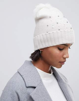 Oasis beanie with bead embellishment in white
