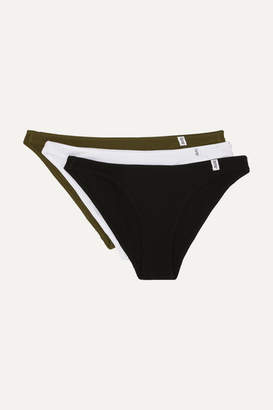 Les Girls Les Boys - Set Of Three Ribbed Stretch-cotton Jersey Briefs - Black