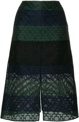 Julien David stripe embroidered skirt