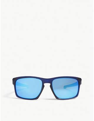Oakley Mens Blue Timeless Sliver Rectangle-Frame Sunglasses