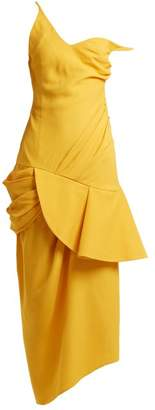 Jacquemus Asymmetric Neck Draped Dress - Womens - Yellow