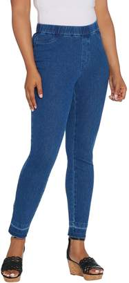 Isaac Mizrahi Live! Regular Knit Denim Slim Leg Jeans with Let Down Hem