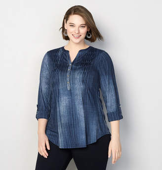 Avenue Denim Roll Sleeve Top