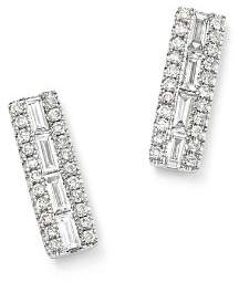 Bloomingdale's Diamond Round & Baguette Stud Earrings in 14K White Gold, .40 ct. t.w - 100% Exclusive