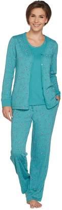 Carole Hochman Ditsy Floral Cotton 3-Piece Pajama Set