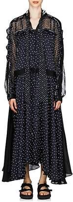 Sacai Women's Satin Asymmetric Maxi Dress - Navy