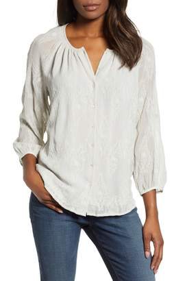 Lucky Brand Geo Embroidered Top
